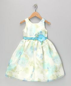 Look what I found on #zulily! Blue Flower Organza Dress - Toddler & Girls by Jayne Copeland #zulilyfinds