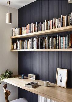 Modern Scandinavian style home office design featuring a dark blue-gray beadboard accent wall and light wood floating shelves and desktop - Home Office Ideas & Decor