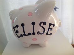 Personalized Large  Piggy  Bank Polka Dots pink and navy blue- Baby Showers…