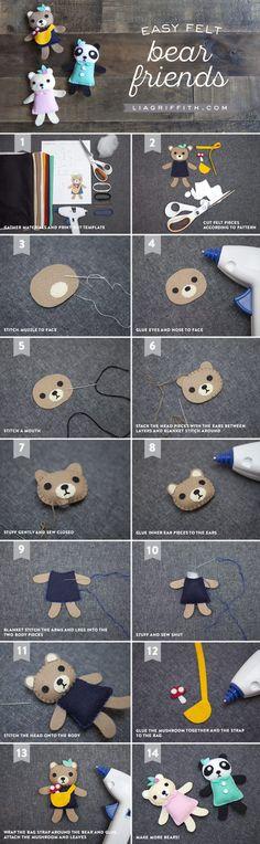 DIY Tutorial Felt Bear Friends by MichaelsMakers Lia Griffith