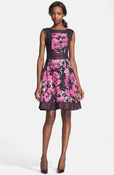 Tracy+Reese+Lace+Trim+Floral+Print+Jacquard+Fit+&+Flare+Dress+available+at+#Nordstrom