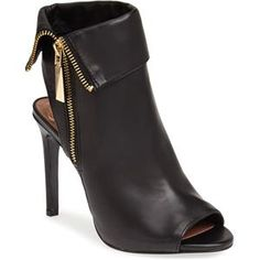 Vince Camuto 'Kevlin' Bootie (Women) (Nordstrom Exclusive) A bold fold-over cuff and a gleaming exposed zip lend moto-chic edge to a saucy peep-toe bootie styled with a cutout heel. Bootie Boots, Shoe Boots, Women's Booties, Fall Booties, Ankle Bootie, Womens Fall Boots, Hot Shoes, Women's Shoes, Fashion Sandals