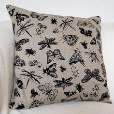 Linen Cushion cover Entomology, I need this fabric!
