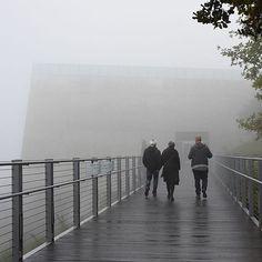 Yad Vashem, winter 2016. Foggy morning at Yad Vashem. The entrance to the Holocaust History Museum. Architect: Moshe Safdie.