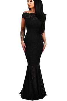Off The Shoulder Fishtail Black Lace Long Formal Dress #promdresses – ModeShe.com