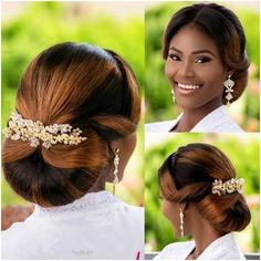 Black Brides Hairstyles, Afro Wedding Hairstyles, Braided Hairstyles For Black Women Cornrows, Bun Hairstyles, Natural Bridal Hair, Bridal Hair And Makeup, Beautiful Bridal Makeup, Curly Hair Styles, Natural Hair Styles