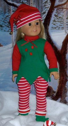 Holiday Elf costume in green and red by SugarloafDollClothes