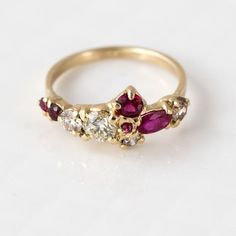 Red Ruby and Champagne Diamond Cluster Ring by MelanieCaseyJewelry $5800