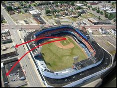 Arrows shows the paths of two of Mickey Mantle's monster home runs hit out of Tiger Stadium in Detroit. The lower arrow shows his home run hit into a lumber yard on . Baseball Helmet, Baseball Park, Sports Baseball, Baseball Players, Baseball Field, Baseball Scoreboard, Angels Baseball, Sports Pics, Baseball Stuff
