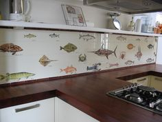 We work with architects, interior designers and private clients. Hand painted tile panels for kitchen and hospitallity. Tile Panels, Decorative Tile, Tile Art, Marine Life, Kitchen Remodel, Tile Floor, Kitchen Design, Art Pieces, Kitchen Cabinets