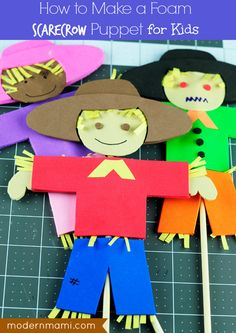 Have a little fall fun making this foam scarecrow puppet for kids! This adorable scarecrow kids craft is great for older kids and young kids, with adult supervision.