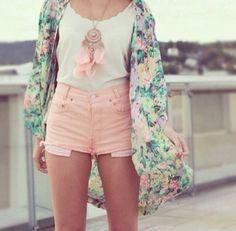Festival Look= Floral print kimono style jacket. Pale pink denim shorts.  Dreamcatcher necklace. White vest top.