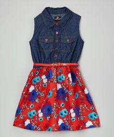Look at this #zulilyfind! Red Belted Button-Front Dress - Infant, Toddler & Girls by Dollhouse #zulilyfinds