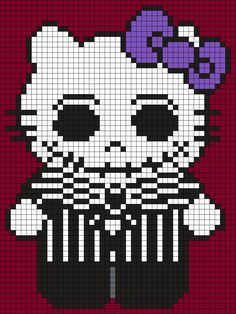 Jack_Skellington_Hello_Kitty_(Square) by Maninthebook on Kandi Patterns