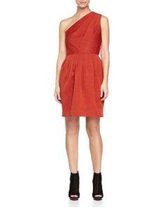 HALSTON HERITAGE One-Shoulder Jacquard Dress, Brick. #halstonheritage #cloth #