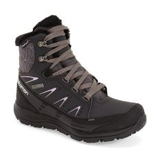 Women's Salomon 'Kaina Mid' Waterproof Boot (€81) ❤ liked on Polyvore featuring shoes, boots, ankle booties, ankle boots, short rubber boots, waterproof winter boots, rubber winter boots, water proof winter boots and winter boots