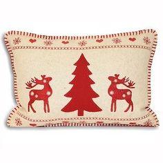 £12 Christmas-Xmas-Tree-Reindeer-35cmx50cm-Felt-Applique-C-Case-Cream-Red