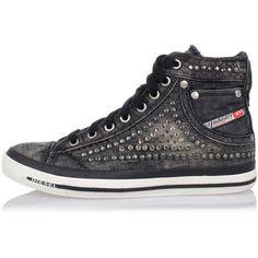 Diesel EXPOSURE IV W Denim Sneakers (140,900 KRW) ❤ liked on Polyvore featuring shoes, sneakers, black, kohl shoes, rubber sole shoes, black trainers, denim shoes and diesel footwear