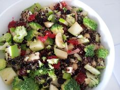 Broccoli, apple, glace cherries, kiwi fruit, chickpeas, banana,  dried currants and quinoa