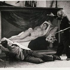 """Too much fun for a Tuesday.   Picasso and Jean Marais posing as painter and model, 1944.  Photo by George Brassai    Brassaï quoted Picasso as saying at the time, """"I'll mimic the artist. But I need a model."""" He then proposed that Jean Marais play the role of languid woman. Marais was a French actor and director. Marais starred in several movies directed by the high society and surrealist poet, Jean Cocteau, for a time Cocteaus's lover and a lifelong friend, most famously Beauty and the…"""