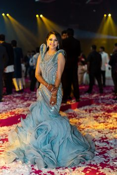 Lovely grey and ice blue ruffled gown for a sangeet and cocktail night   WedMeGood  Vivek & Dimple  #wedmegood #indianweddings #gown #indowestern #ruffled #sangeet #cocktail