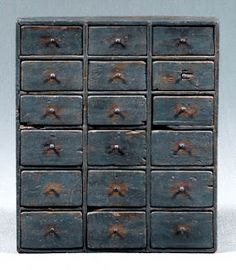19th century Painted Apothecary cabinet. Sold at Brunk Auction in Asheville, NC for $1,000. (posted on Auction Decorating, December 16, 2011)