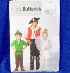 Butterick 4632 Kids Peter Pan Pirate Fairy Costume Sewing Pattern Sz M XL New | eBay
