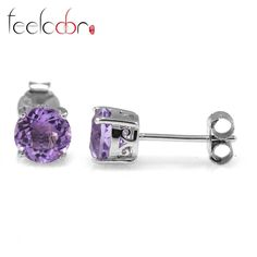 classic 1.4ct natural stone amethyst women stud earrings genuine 925 sterling silver round cut fashion purple wholesale