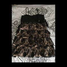 20's inspired black lace and nude dress Beautiful black lace and nude dress it's very comfortable super sexy! Great for a night out! Large/ Medium Dresses