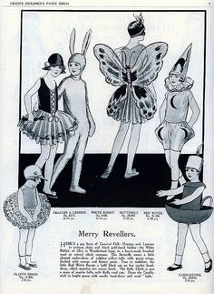 """Here's some vintage inspiration for your little one's Halloween Costume: """"Merry Revellers """"Here's a gay bevy of Carnival Folk - Oranges and Lemons in Vintage Halloween Images, Whimsical Halloween, Retro Halloween, Halloween Fashion, Halloween Halloween, Halloween Makeup, Childrens Halloween Costumes, Ghost Costumes, Vintage Costumes"""