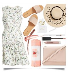 """Let's go to the beach, let's go get away.."" by its-siobhan-again ❤ liked on Polyvore featuring August Hat, Giambattista Valli, Hinge, Kate Spade, ban.do, Marc Jacobs and Burberry"