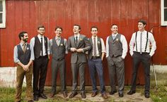 I like the groom's suit and the vests- I'm thinking a fun shirt color with a pattern or a plain color shirt with a fun patterned bow-tie