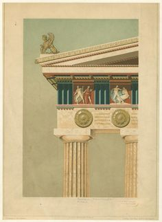 [Section of Parthenon entablature and column (reconstruction)]