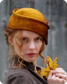 Autumn Ombre Hand Draped Fur Felt Hat. $146.00, via Etsy.