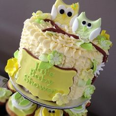 Lemon & Lime Owl Baby Shower - by cjsweettreats @ CakesDecor.com - cake decorating website