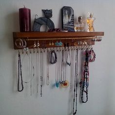 With love for wood - made by hand in the Czech Republic by Necklace Storage, Earring Storage, Necklace Holder, Jewelry Holder, Jewelry Box, Jewelry Necklaces, Unique Jewelry, Jewelry Stand, Jewelry Organization
