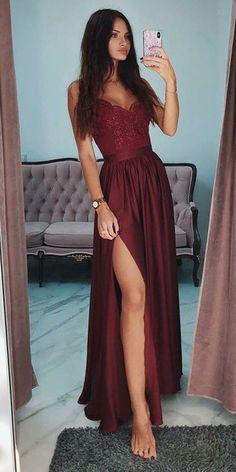 Burgundy Chiffon Lace Prom Dress with Spaghetti Straps Custom Made Long Side Slit Evening Dress Fashion Long School Dance Dress Pageant Dress for Girls PD665