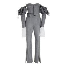 Pinstripe Tailoring Jumpsuit | Moda Operandi ($1,275) ❤ liked on Polyvore featuring jumpsuits, sweetheart neckline jumpsuit, off shoulder jumpsuit, pinstripe jumpsuit, tailored jumpsuit and sleeve jumpsuit