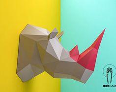 Rhino Head, Animal Head, Rhinoceros Head ,Rhino mask, papercraft, DIY, low poly, trophy, papermodel, wall decoration, Eburgami, Lowpoly Mask