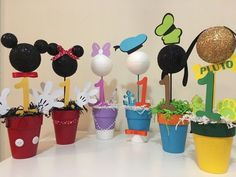 Mickey Mouse Clubhouse Centerpieces All 6 Characters Mickey Mickey Mouse First Birthday, Mickey Mouse Clubhouse Birthday Party, 2nd Birthday Parties, Mickey Mouse Clubhouse Decorations, Mickey Party Decorations, Elmo Party, Elmo Birthday, Baby Mickey, Dinosaur Party