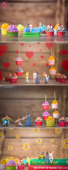 Cupcake story shot - Love Story Shot - Bride and Groom in a Nice Outfits. Wedding Reception Photography, Wedding Photography Styles, Cute Photography, Creative Photography, Photography Lighting, Photography Editing, Family Photography, Wedding Events, Diy Wedding Video