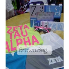 Zeta Tau Alpha Bid Day packages available in stores or online today! Bid Day Gifts, Zeta Tau Alpha, Online Gifts, Sorority, Beach Mat, Outdoor Blanket