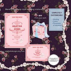 PLEASE NOTE : Digital file(s) only, no physical items will be shipped.    The Grand Budapest Hotel Mends Patisserie Wes Anderson style Wedding