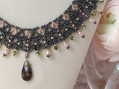 Black Lace Bead Weaving Necklace, Rose Pearls, Bronze Crystal Pendant - 519