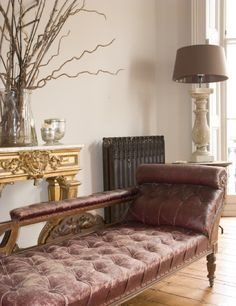 tufted leather chaise