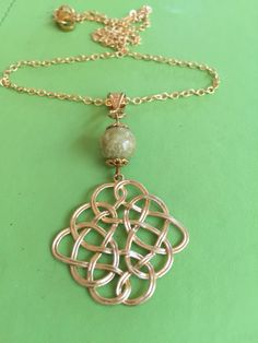Celtic Gold and Connemara Marble Necklace by joytoyou41 on Etsy