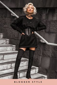 Saskia Black Jersey Jumper Dress