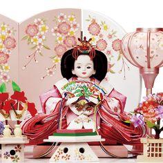 京雛 晃月作 プリンセス雛 ピンクハート 親王収納 W45×D35×H47 お祝い価格 118,800円
