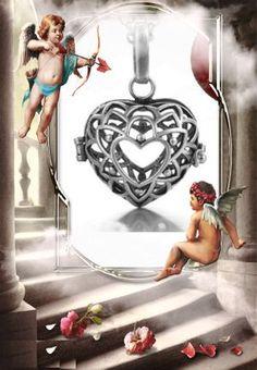 T03 Llamadores de ÁngelesOriginales jaula de corazón 2CM incluye cadena 60cm