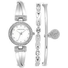 Anne Klein Women's Stainless Steel Mother-of-Pearl Dial Bracelet Watch... ($150) ❤ liked on Polyvore featuring jewelry, watches, silver, stainless steel jewelry, stainless steel bangle bracelet, bracelet watch, bangle bracelet watch and hinged bangle